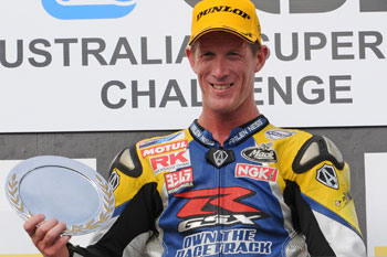 Team Suzuki celebrating debut win with Maxwell in WSBK Cup