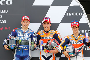Title protagonists lock out MotoGP front row in Spain
